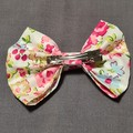 Pink Floral Bow With Matching Scrunchie Set