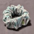 Blue Grey Chevron Wide Scrunchie and Bow Set