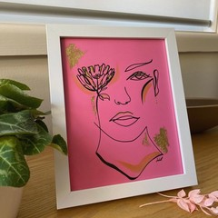 """Floral Caught Your Eye"" Line Drawing Framed Artwork"