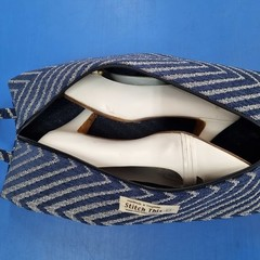 Shoe  Bag - Blue Diagonal