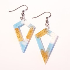 Statement Resin Dangle Earrings, Beach blue gold and white, Diamond shaped Drop