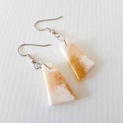 Beach Pastel Creamy white, gold, apricot Earrings, Hypoallergenic, Geometric