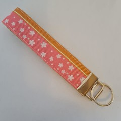 Pink and orange flower print key fob wristlet