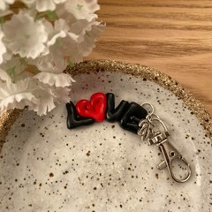 """LOVE"" Polymer Clay Keychain"