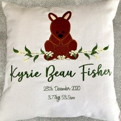 Cushion, baby gift, personalised and embroidered to your specifications.