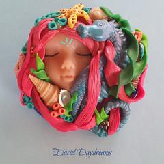 Handmade Polymer Clay Mermaid Brooch OOAK