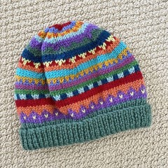 Green  Beanie - to fit approx size 1-3 years -hand knitted