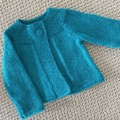 CLEARANCE 40% off - Turquoise Cardigan - Size 6-12 -  Wool alpaca