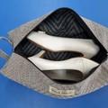 Shoe Bag/Wine Bottle Bag/Knitting Needle Bag - Taupe Diagonal
