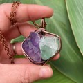 Elestial Amethyst and Green Calcite Pendant