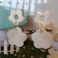 White Shell Dangle Earrings, Real Shell Statement jewellery