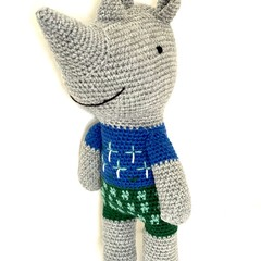 Handmade Rhinoceros, READY TO POST, crochet toy, African animal, baby boy toy