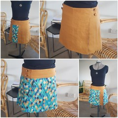4 Seasons Wrap Skirt - 4 in 1 SMALL Mustard and Blue arches