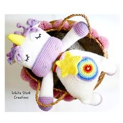 Handmade Unicorn cusion, READY TO POST, crochet unicorn pillow, baby girl toy,