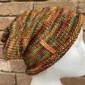 Knitted slouchy beanie orange rainbow mens or ladies merino slouchy beanie colou