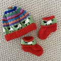 Red sheep beanie and Matching Booties - up to 4 months - Hand knitted
