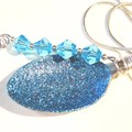 Turquise blue Glitter and blue crystals, recycled spoon pendant necklace