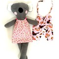 Handmade Koala + 2 outfits, READY TO POST, Australian animal, baby girl toy