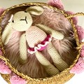 Crochet Cotton Bunny, POST READY, newborn photo prop, baby girl toy