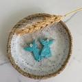 """""""Stamped Angels"""" Handmade Light Blue Hoop Earrings"""