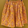 Vintage 60s print elastic waist gathered skirt with pockets