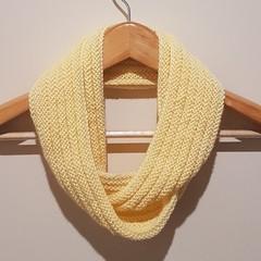 Hand knit lemon infinity scarf