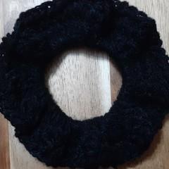 Deluxe Charcoal Crochet Hair Scrunchie