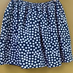 Vintage linen navy and white spot elastic waist gathered skirt with pockets