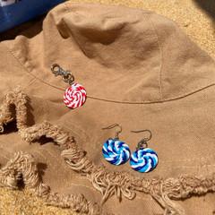 """Peppermint Swirl"" Earring and Keychain Bundle"