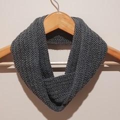 Hand knit grey infinity scarf