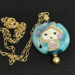 Handmade  Glass Bead Lampwork Wearable Art Raw Brass