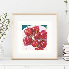 Red Cherries Art Print - Still Life Fruit - Cherries on a plate - Sesendesign