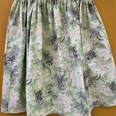 Vintage Japanese style floral print elastic waist gathered skirt with pockets