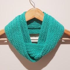 Hand knit sea foam infinity scarf