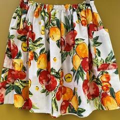 Citrus Fruit elastic waist gathered skirt with pockets