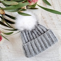 Newborn Grey Ribbed Crocheted Baby Beanie with Faux Fur Pompom 0-3 months