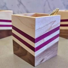 Modern Wooden Chevron Pencil Holder | Pen Holder | Desk Organiser