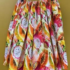 Tropical Fruit elastic waist gathered skirt with pockets