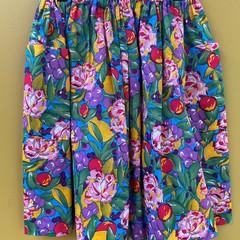 Fruit n Flowers vintage fabric elastic waist gathered skirt with pockets
