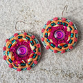 Recycled Coffee Pod Earrings woven with Recycled Sari Threads and Glass Mandala