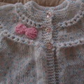 SIZE New born - 3 mths Hand knitted cardigan