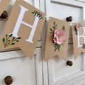 OH BABY Floral Greenery Banner. Botanical baby shower banner, pink flowers.