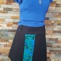 4 Seasons Wrap Skirt - 4 in 1 Black & teal with blue flowers