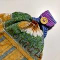 Crochet clothes peg bag with 2x bonus towel holders