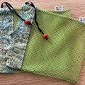 Bright mesh produce bags with green batik patterned fabric and vintage beads
