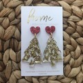 Recycled Gold Glitter Christmas Tree with Heart Stud | Eco