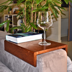 Handmade wood sofa armrest tray.