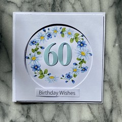 Custom Made Card - You choose the Occasion and Number of Years - Daisy Wreath