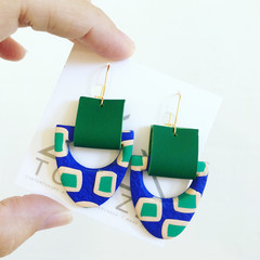 HOPSCOTCH - Emerald Leather Cuff Dangles - Statement Earrings