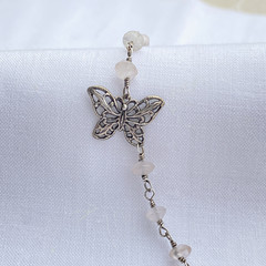 Silver and Rose Quartz Butterfly Anklet